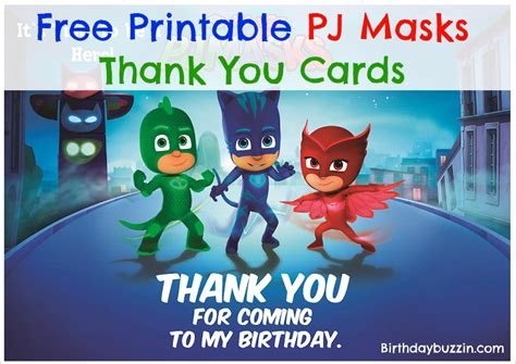 pj masks birthday card template free printable pj masks thank you cards birthday buzzin
