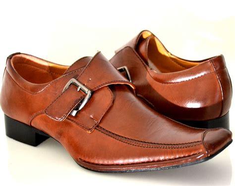 mens brown buckle loafer style slip on loafer dress shoes
