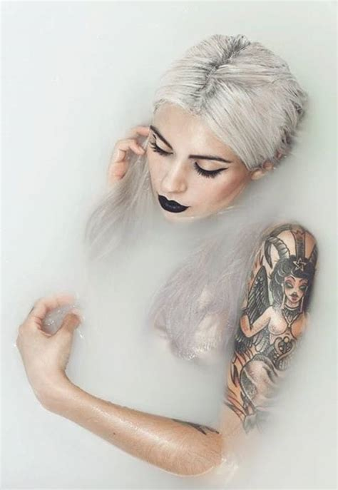 nude bathtub pics the goddess effect of gorgeous silver hair paired with tattoos tattoodo