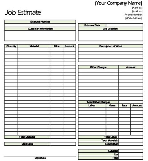 Classic Job Estimate Sheet For Contractors Contractor Estimate Template