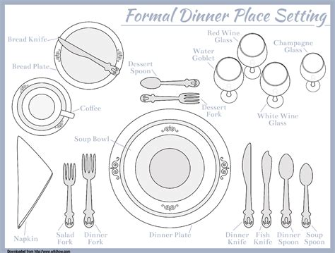 Place Setting Template For Seven Course Meal Food Pinterest Course Meal Place Setting And Place Setting Template