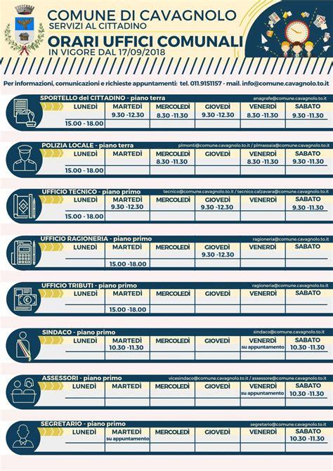 orari uffici comunali variazione orari uffici comunali dal 17 09 2018 comune