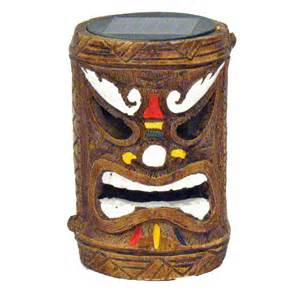 tiki solar lights tiki god solar powered accent light post hawaiian luau