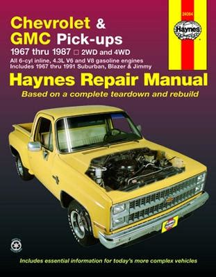 free service manuals online 1994 gmc jimmy instrument cluster 1967 1987 chevy gmc full size pickup 67 91 suburban blazer jimmy haynes manual