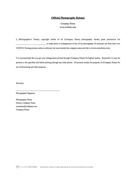 Release Letter For Photography Photography Print Release Form Template Template Design