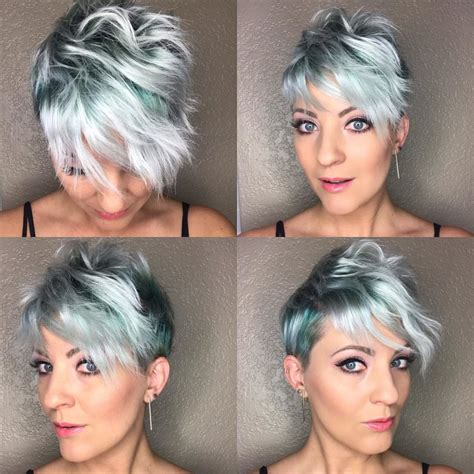 Disheveled Pixie Hair Style Tutorial | women s disheveled pixie with emerald green and silver