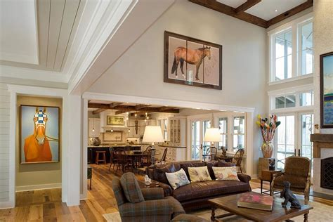 high ceiling family room living room rustic  wall art