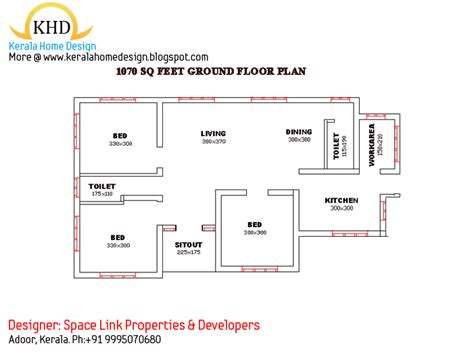 kerala house plans 1000 square foot single floor beautiful single floor house elevation and plan 1070 sq