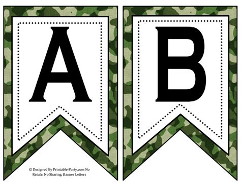 printable camo birthday banner small swallowtail printable banner letters a z numbers 0
