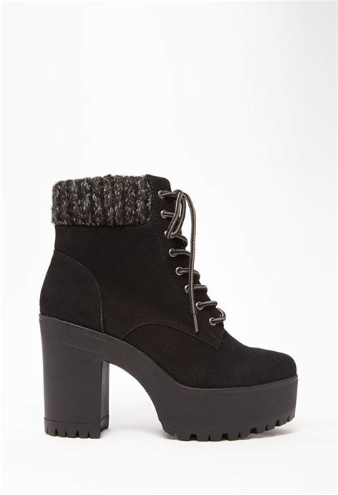 forever 21 shoes boots forever 21 suede lace up platform booties in black lyst