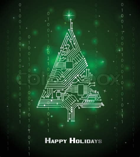 hi tech christmas tree from a digital electronic circuit