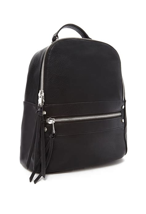 Faux Leather Backpack lyst forever 21 faux leather backpack in black