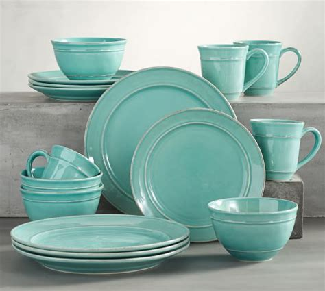 pottery barn china cambria 16 piece dinnerware set turquoise blue pottery