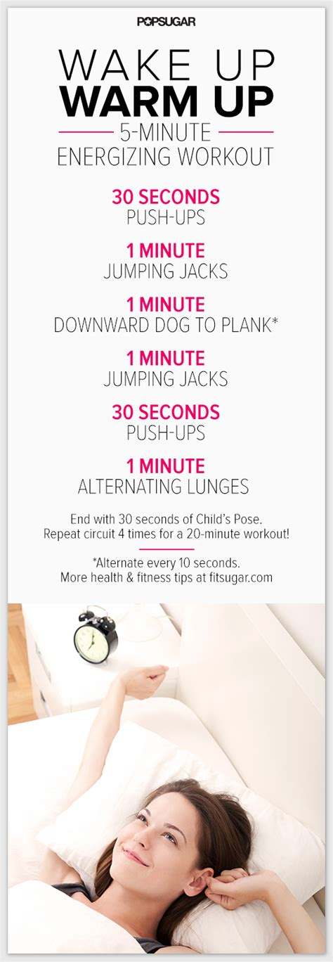 is it ok to workout before bed wake up and move a 5 minute energising warmup popsugar