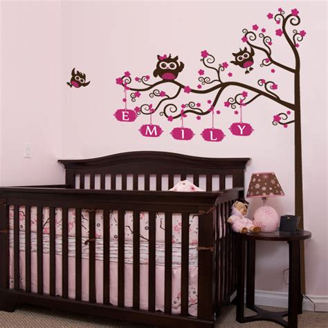 Nursery Crib Name Tree Owls Wall Decal Decalmywall Com Owl Wall Decals For Nursery