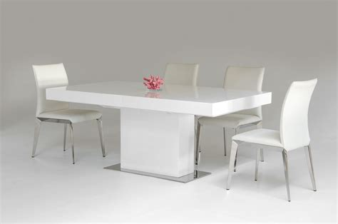 White Table Dining Durham Modern White Lacquer Extendable Dining Table
