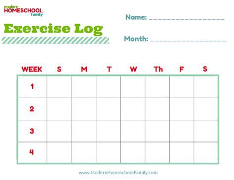 printable exercise log free printable homeschool planner worksheet for kids