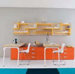 Cool Desk Chairs Design Ideas Modern Home Office Design Ideas With Orange Drawers And Yellow Bookshelf For Simple Desk