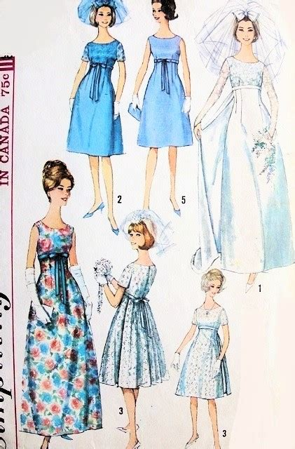 vintage gown pattern 1960s mod retro empire wedding gown bridal dress pattern