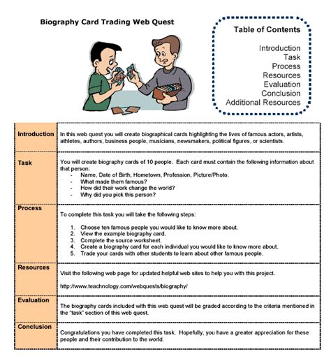 biography trading cards teacher web quest sle