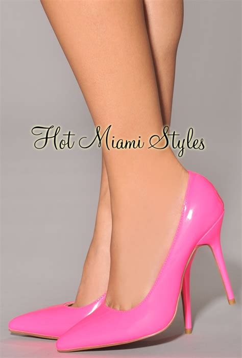 pink patent high heels neon pink patent leather pointed toe high heel pumps