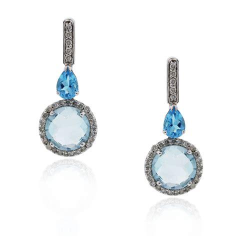 Blue Earring 18k white gold blue topaz drop dangle earrings