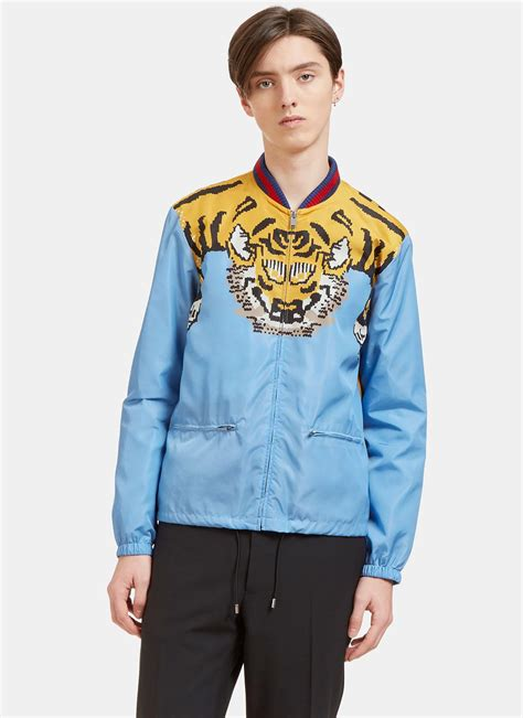 Jaket Bomber Wanita Pink Jaket Bomber Wanita Polos lyst gucci s tiger print windbreaker bomber jacket in blue in blue for