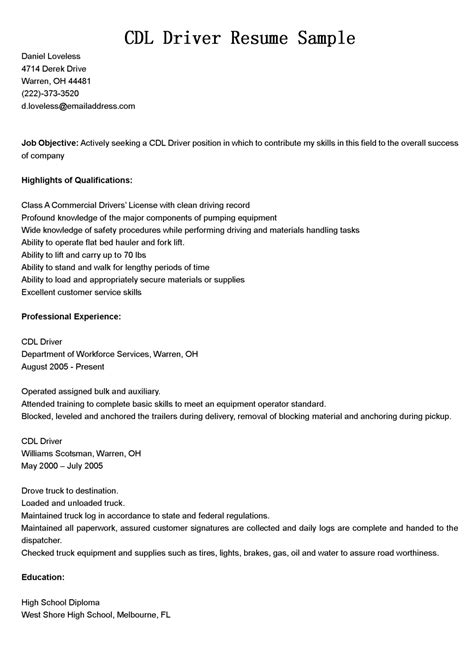 objective in resume for driver driver resumes cdl driver resume sle