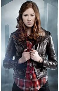 Home Designing Front by Doctor Who Amy Pond Brown Leather Jacket
