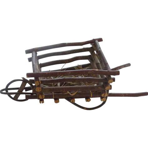 primitive wood decorative small wheelbarrow cart from