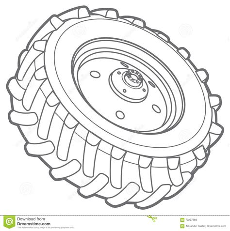 Tractor Tire Coloring Page | wheel tractor outline stock vector image 70297669