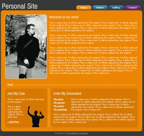 free personal site template free personal website template free web templates all