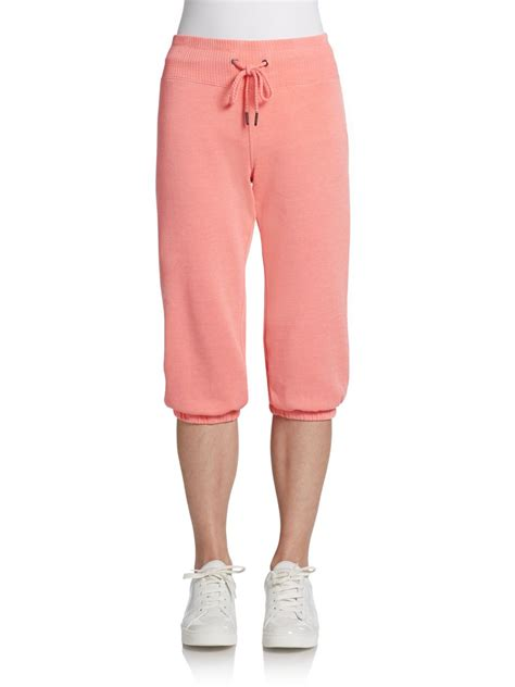 Drawstring Cropped Sweatpants lyst calvin klein cropped drawstring sweatpants in pink