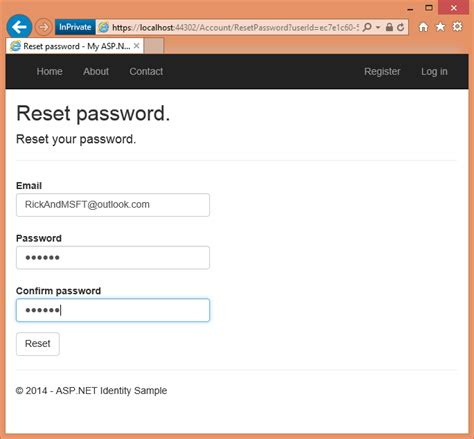 reset voicemail password wind account confirmation and password recovery with asp net