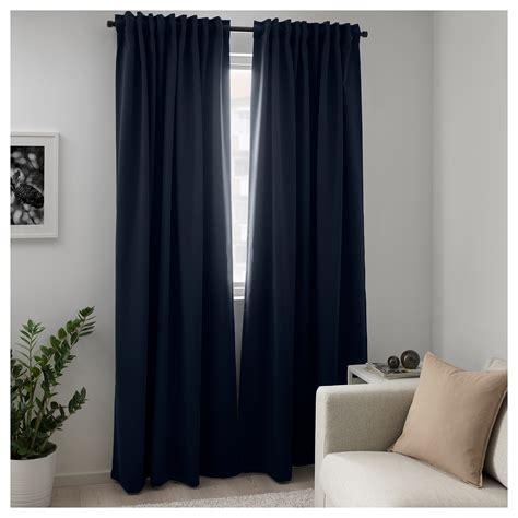 dark out curtains majgull block out curtains 1 pair dark blue 145x250 cm ikea