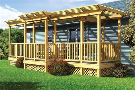 Trellis Home Project Plan 90016 Parallel Porch Deck W Trellis And