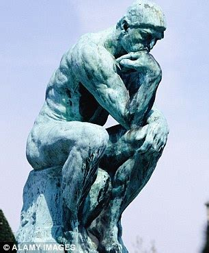 chimp recalls rodin's the thinker as he contemplates life
