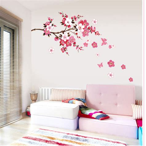 removable wall decals for living room new warm sweet pink flowers wall sticker home decor living