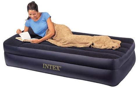 inflated bed intex queen inflatable raised air bed with built in pump