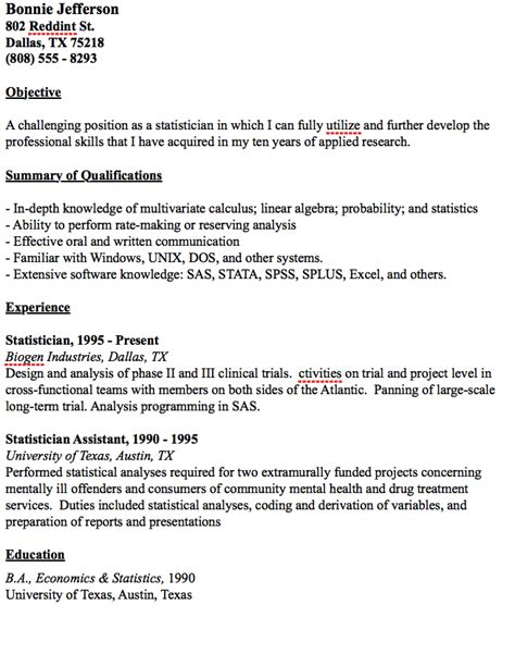 Resume Statistics by Exle Statistician Resume Http Resumesdesign
