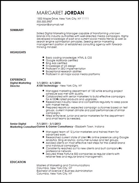 resume examples templates free sample format marketing executive