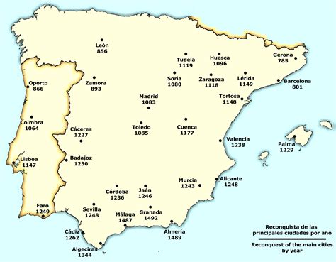 where is iberian peninsula on a map reconquista of the cities of the iberian peninsula