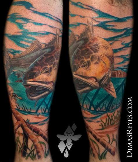 redfish tattoo realistic color redfish by dimas reyes tattoos