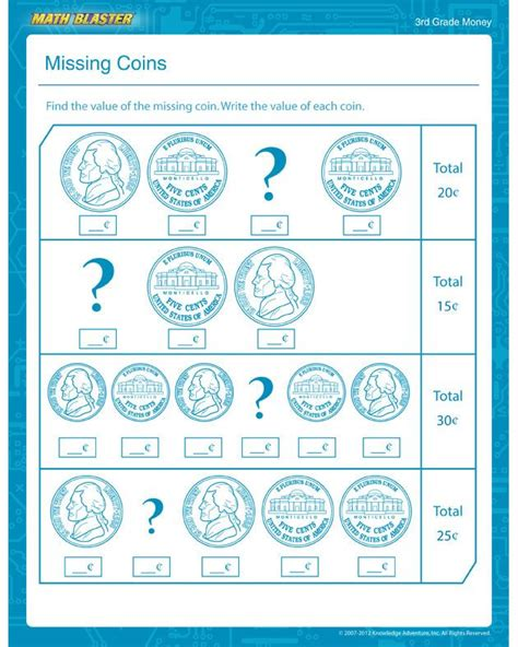 missing coins free math worksheet for 3rd grade 2nd