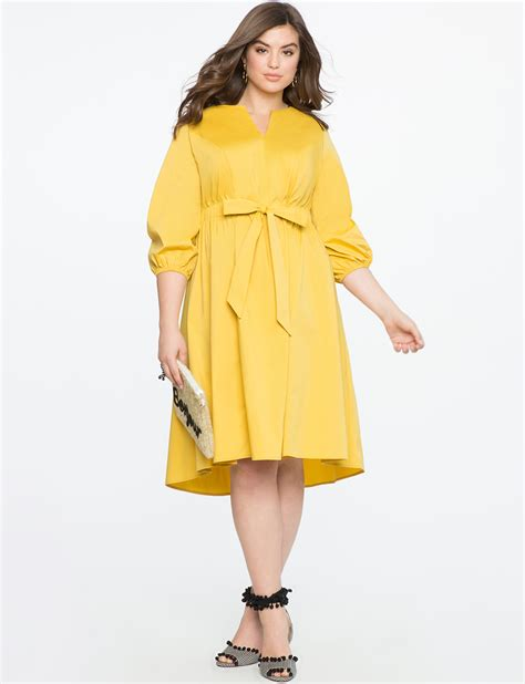 Sleeve Tie Front Dress tie front easy dress with puff sleeve s plus size