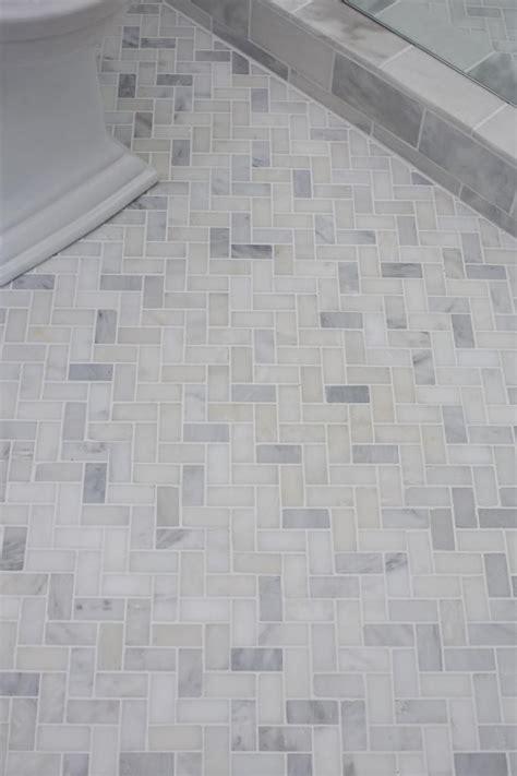 guest bath plank style floor tiles in gray sarah guest bathroom reveal herringbone pattern herringbone