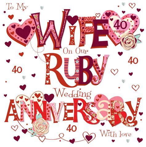 40th Wedding Anniversary by Ruby 40th Wedding Anniversary Greeting Card Cards