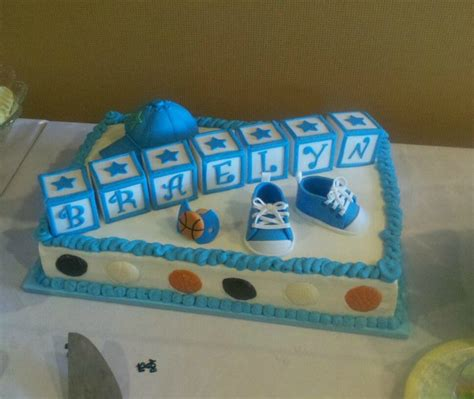 Sports Theme Baby Shower Cake by Sports Themed Baby Shower Cake Cakecentral