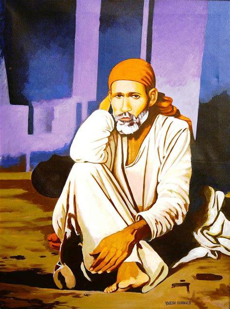 Sai Baba Sitting In Dwarkamai Shirdi Painting by Yogesh ...