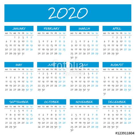 2020 Year Calendar 2020 Calendar